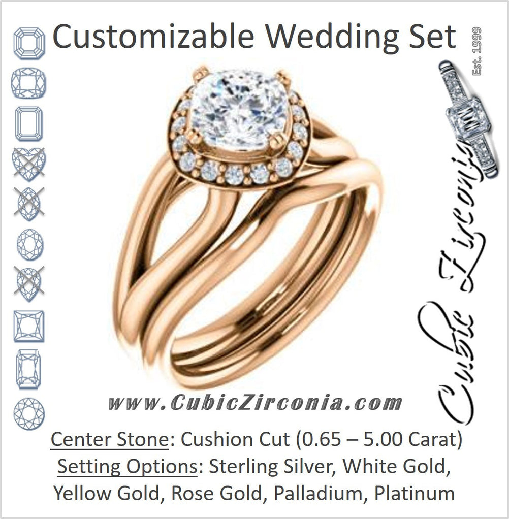 Cubic Zirconia Engagement Ring- The Nancy Avila (Customizable Halo-Accented Cushion Cut Design with Wide Split-Band)