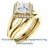 Cubic Zirconia Engagement Ring- The Nancy Avila (Customizable Halo-Accented Princess Cut Design with Wide Split-Band)