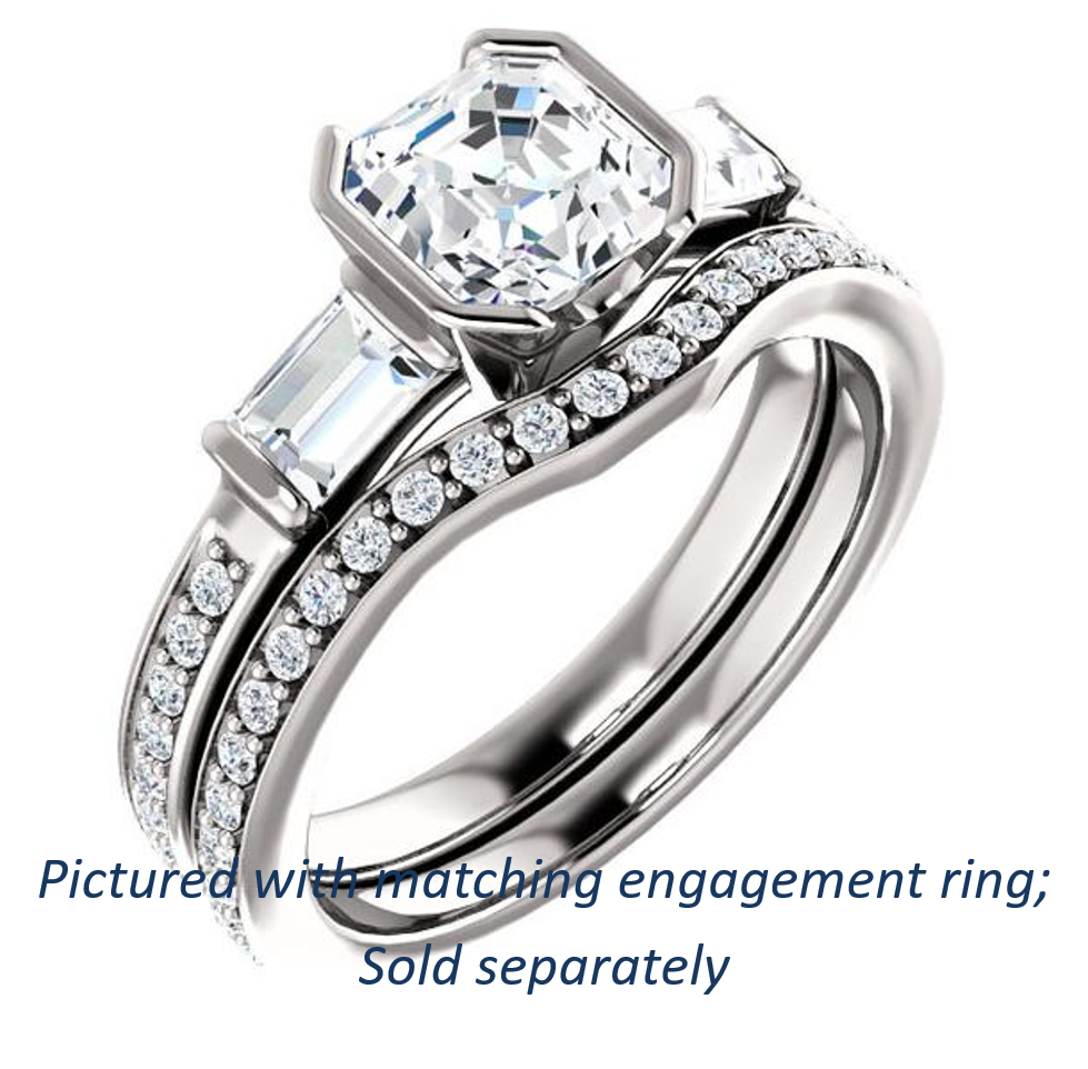 princess band tension cushion and cut wedding matching engagement with rings diamond set solitaire ring
