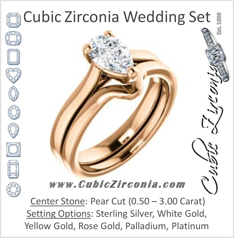 CZ Wedding Set, featuring The Noemie Jade engagement ring (Customizable Cathedral-set Pear Cut Solitaire)