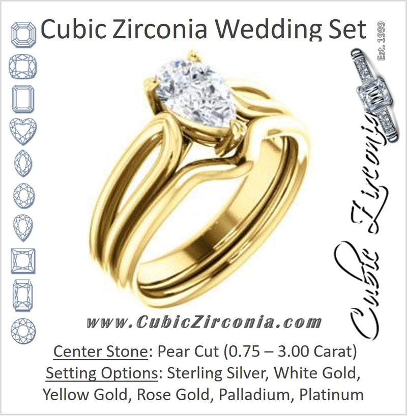 CZ Wedding Set, featuring The Piper engagement ring (Customizable Pear Cut Solitaire with Flared Split-band)