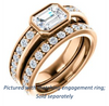 Cubic Zirconia Engagement Ring- The Racquel (Customizable Cathedral-Bezel Emerald Cut Design with Stackable Round-Accented Band)