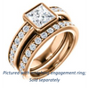 Cubic Zirconia Engagement Ring- The Racquel (Customizable Cathedral-Bezel Princess Cut Design with Stackable Round-Accented Band)