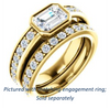 Cubic Zirconia Engagement Ring- The Racquel (Customizable Cathedral-Bezel Radiant Cut Design with Stackable Round-Accented Band)