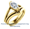 Cubic Zirconia Engagement Ring- The Reese (Customizable Marquise Cut Solitaire with Grooved Band)