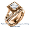 Cubic Zirconia Engagement Ring- The Reina (Customizable Ridged-Bevel Surrounded Princess Cut with 3-sided Split-Pavé Band)