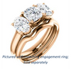 Cubic Zirconia Engagement Ring- The Rita (Customizable Cushion Cut Three-stone Style with Dual Oval Cut Accents)