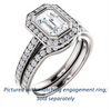 Cubic Zirconia Engagement Ring- The Samira (Customizable Halo-style Emerald Cut with Under-Halo Trellis and Thin Pavé Band)