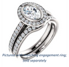 Cubic Zirconia Engagement Ring- The Samira (Customizable Halo-style Oval Cut with Under-Halo Trellis and Thin Pavé Band)