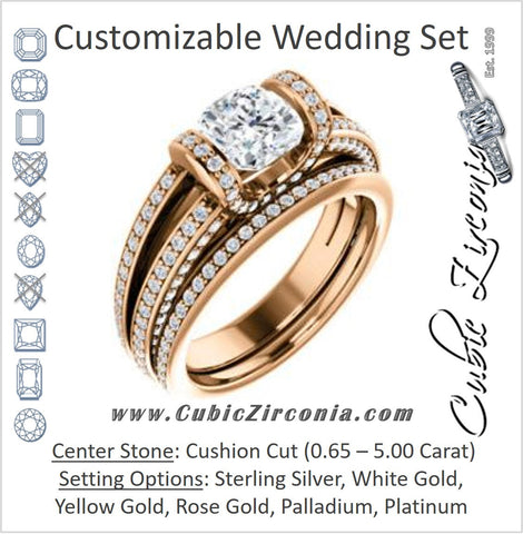 CZ Wedding Set, featuring The Scarlett engagement ring (Cushion Cut with Prong-Accented Bar Basket and Split Pavé Band)