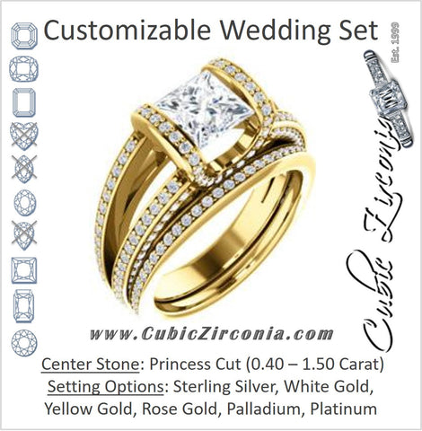 CZ Wedding Set, featuring The Scarlett engagement ring (Princess Cut with Prong-Accented Bar Basket and Split Pavé Band)