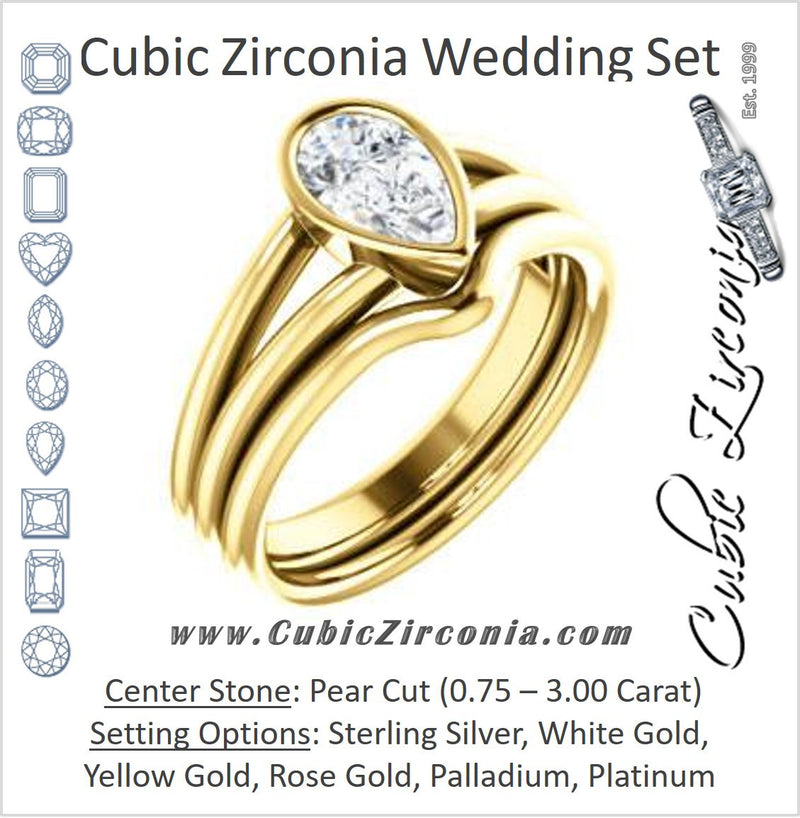 CZ Wedding Set, featuring The Shae engagement ring (Customizable Pear Cut Split-Band Solitaire)