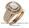 Cubic Zirconia Engagement Ring- The Shay (Customizable Radiant Cut Ultra-wide w/ Double-Halo and Triple-Pavé Band)
