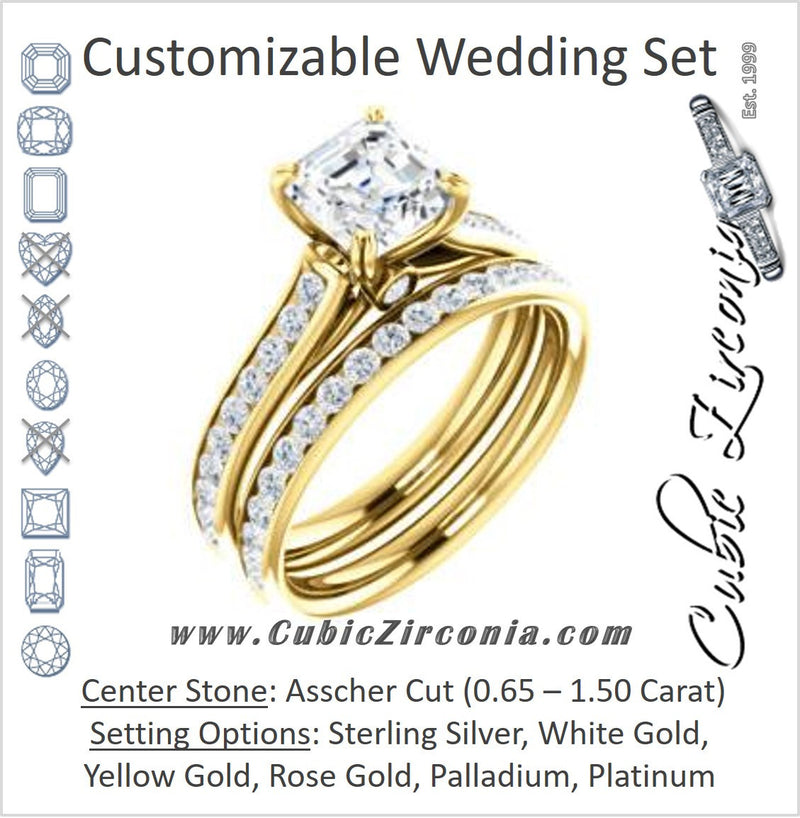 CZ Wedding Set, featuring The Tabitha engagement ring (Customizable Asscher Center with Round Channel)
