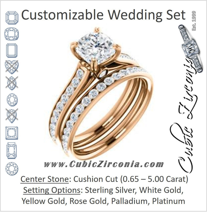 CZ Wedding Set, featuring The Tabitha engagement ring (Customizable Cushion Center with Round Channel)