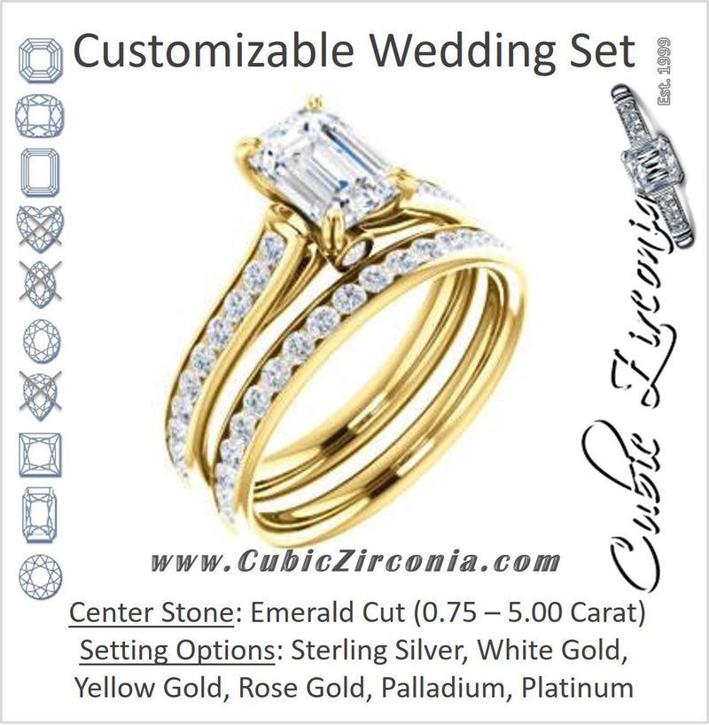 CZ Wedding Set, featuring The Tabitha engagement ring (Customizable Emerald Center with Round Channel)