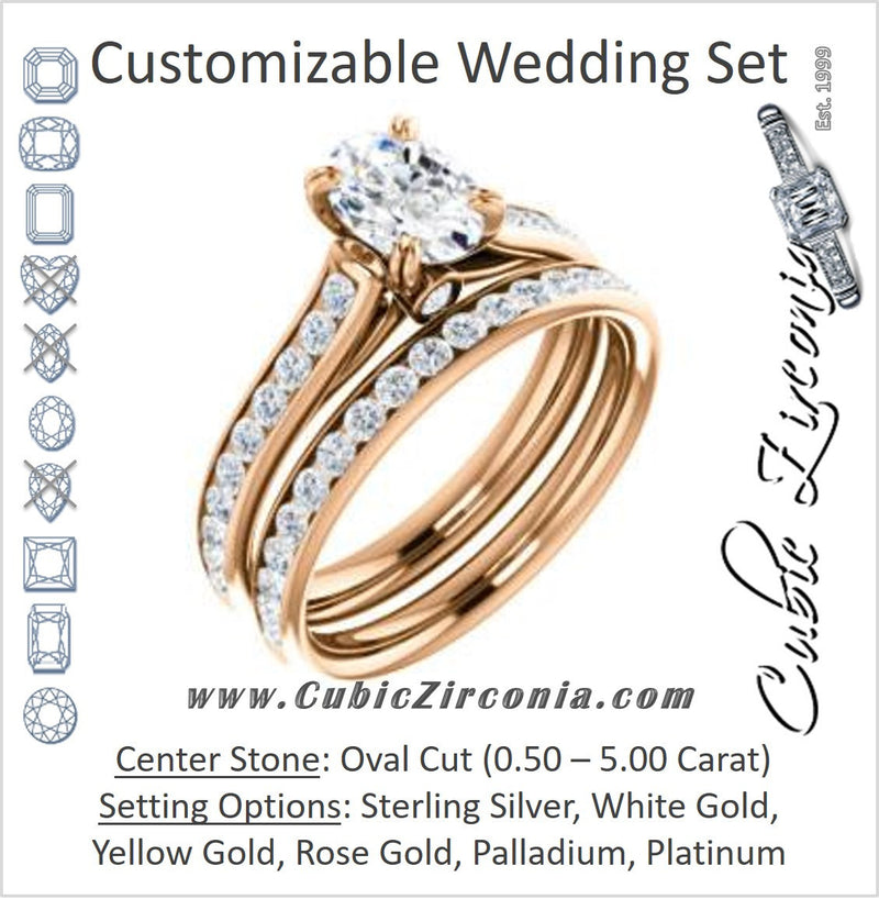 CZ Wedding Set, featuring The Tabitha engagement ring (Customizable Oval Center with Round Channel)