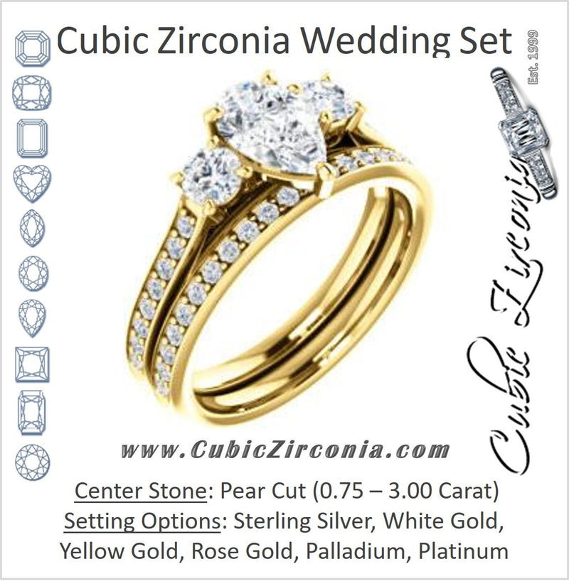 CZ Wedding Set, featuring The Tess engagement ring (Customizable Pear Cut Trellis-Enhanced Bridge Setting with Semi-Pavé Band)