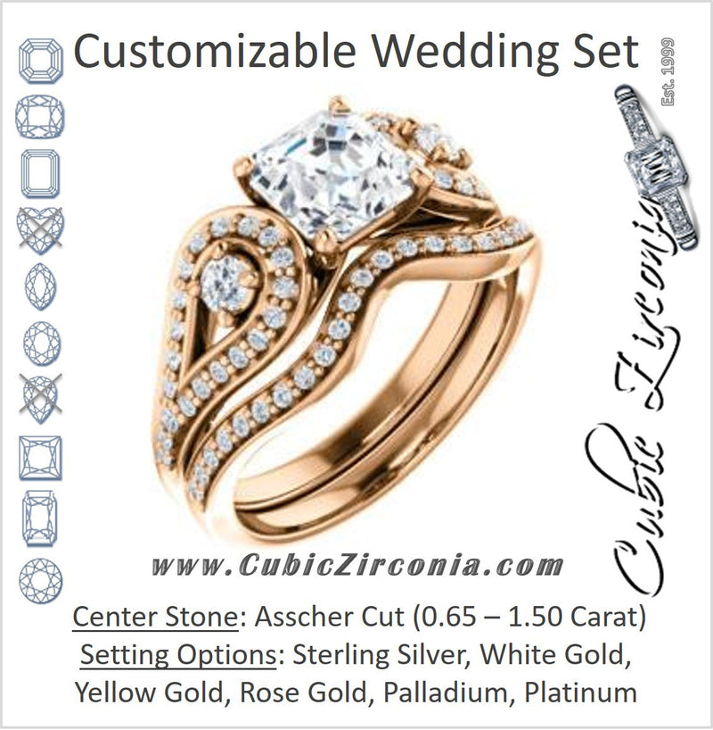 CZ Wedding Set, featuring The Tonya Laverne engagement ring (Customizable Asscher Cut Design with Winged Split-Pavé Band)