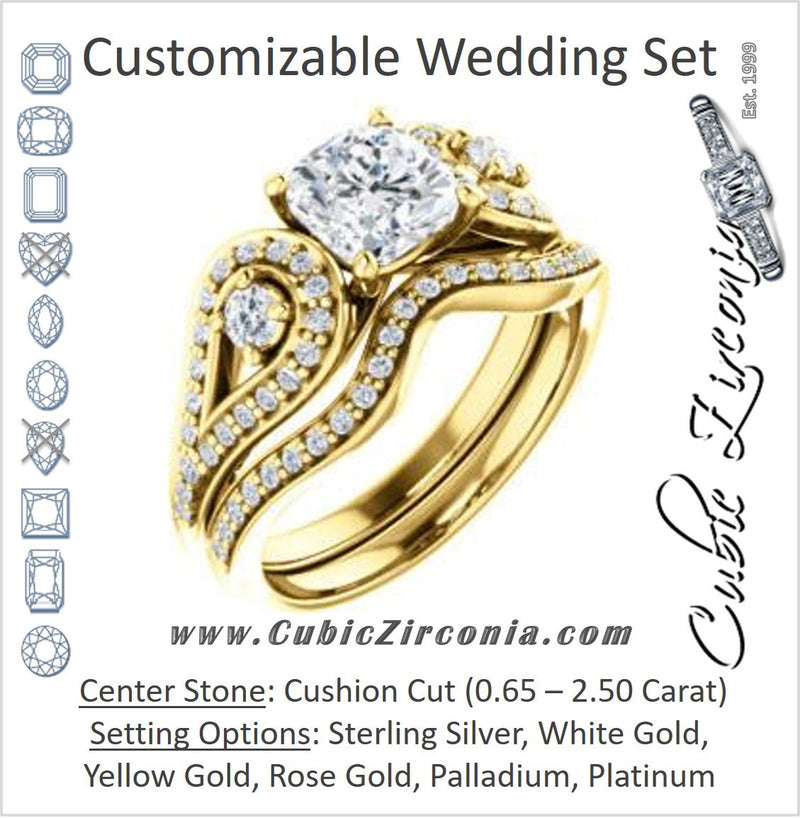 CZ Wedding Set, featuring The Tonya Laverne engagement ring (Customizable Cushion Cut Design with Winged Split-Pavé Band)