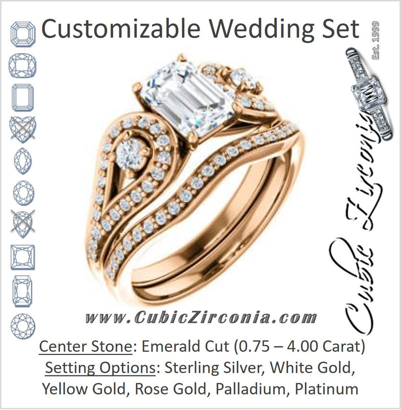 CZ Wedding Set, featuring The Tonya Laverne engagement ring (Customizable Emerald Cut Design with Winged Split-Pavé Band)