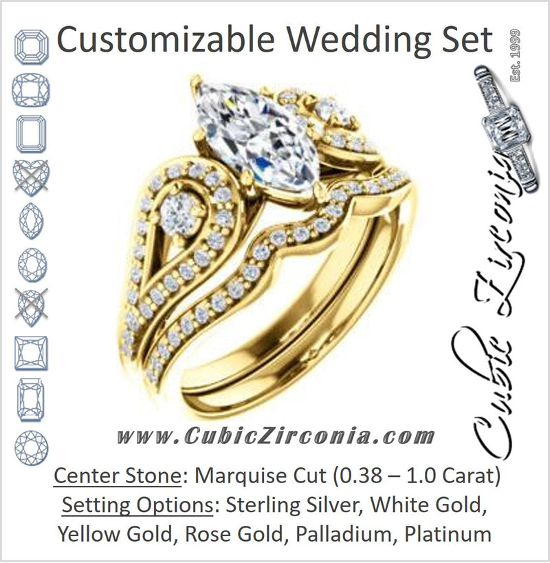 CZ Wedding Set, featuring The Tonya Laverne engagement ring (Customizable Marquise Cut Design with Winged Split-Pavé Band)