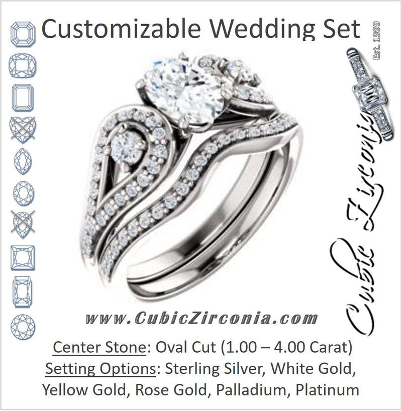 CZ Wedding Set, featuring The Tonya Laverne engagement ring (Customizable Oval Cut Design with Winged Split-Pavé Band)
