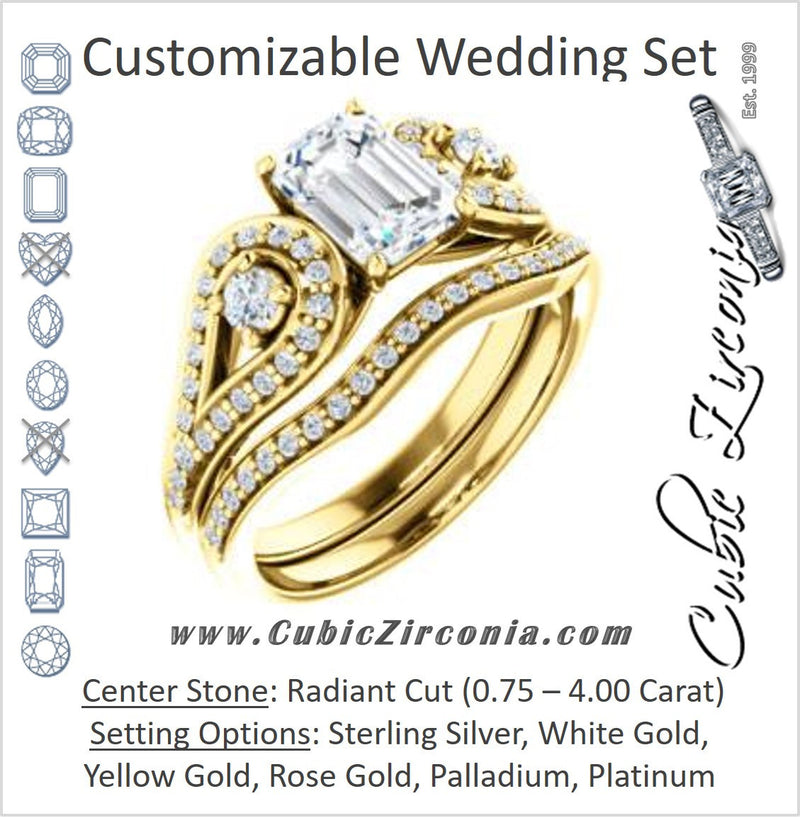 CZ Wedding Set, featuring The Tonya Laverne engagement ring (Customizable Radiant Cut Design with Winged Split-Pavé Band)