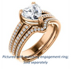 Cubic Zirconia Engagement Ring- The Trudy (Customizable Heart Cut Style with Wide Double Pavé Band)