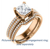 Cubic Zirconia Engagement Ring- The Trudy (Customizable Princess Cut Style with Wide Double Pavé Band)