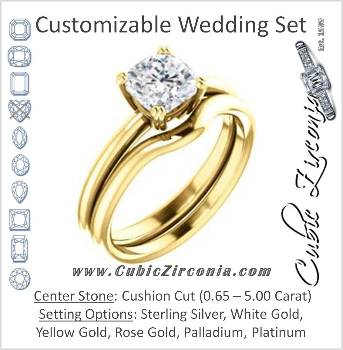Cz Wedding Set Featuring The Venusia Engagement Ring Customizable Cushion Cut Solitaire With Thin Band