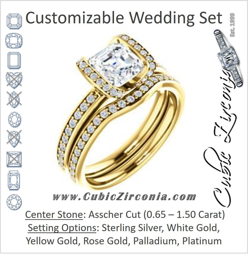 CZ Wedding Set, featuring The Victoria engagement ring (Customizable Bezel-set Asscher Cut Semi-Halo Design with Prong Accents)