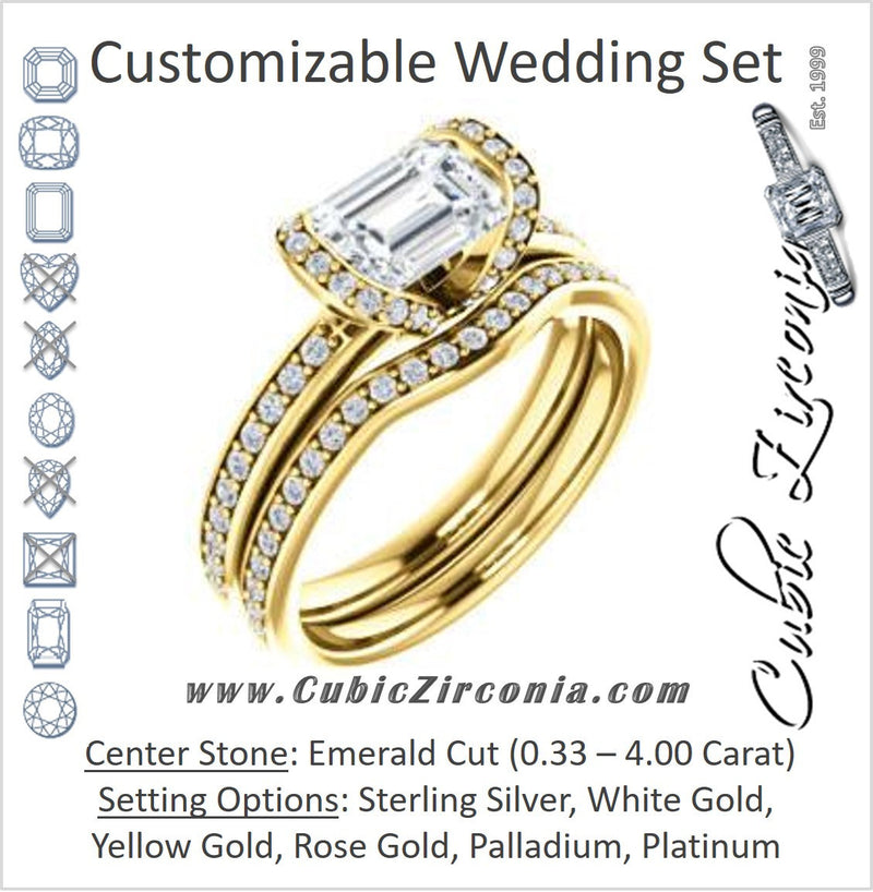 CZ Wedding Set, featuring The Victoria engagement ring (Customizable Bezel-set Emerald Cut Semi-Halo Design with Prong Accents)
