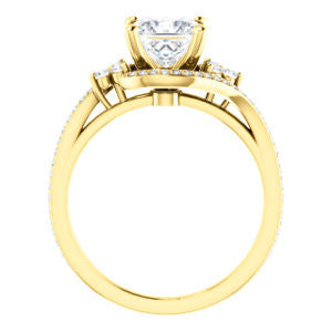 Cubic Zirconia Engagement Ring- The Candie (Customizable Princess Cut with Artisan Bypass Pavé and 7-stone Cluster)