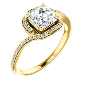 Cubic Zirconia Engagement Ring- The Annalisa (Customizable Asscher Cut Bypass with Twisting Pavé Band)