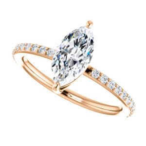 Cubic Zirconia Engagement Ring- The Delilah (Customizable Marquise Cut Petite Style with 3/4 Pavé  Band)