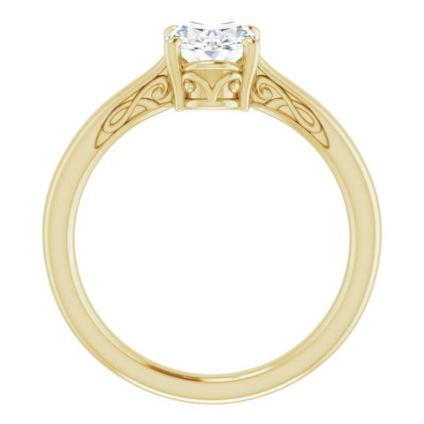 10K Rose Gold Customizable Oval Cut Solitaire with 'Incomplete' Decorations