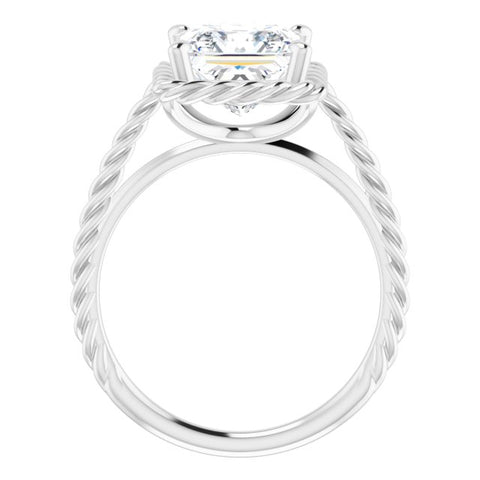 10K Rose Gold Customizable Cathedral-set Princess/Square Cut Solitaire with Thin Rope-Twist Band