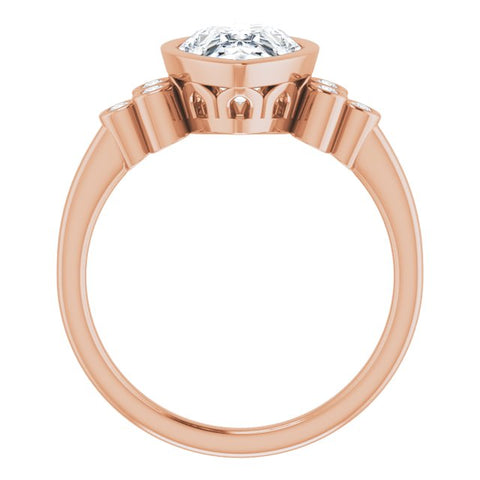 10K Rose Gold Customizable 7-stone Pear Cut Style with Triple Round-Bezel Accent Cluster Each Side