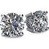 Cubic Zirconia Earrings-  Customizable 4 Prong Round CZ Stud Earring Set With Push Back