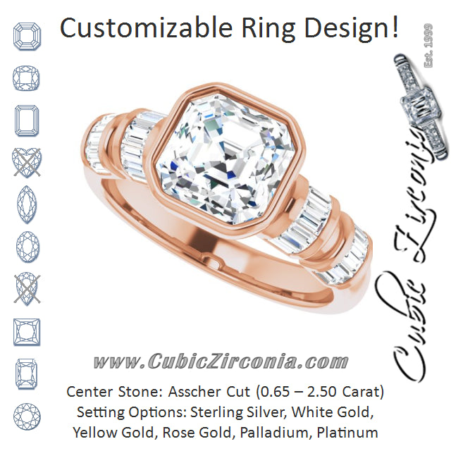 Cubic Zirconia Engagement Ring- The Astrid (Customizable Bezel-set Asscher Cut Design with Quad Horizontal Band Sleeves of Baguette Accents)