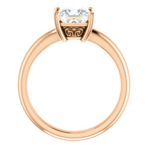 Cubic Zirconia Engagement Ring- The Marie Rosalind (Customizable Princess Cut Solitaire with Tooled Trellis Design)