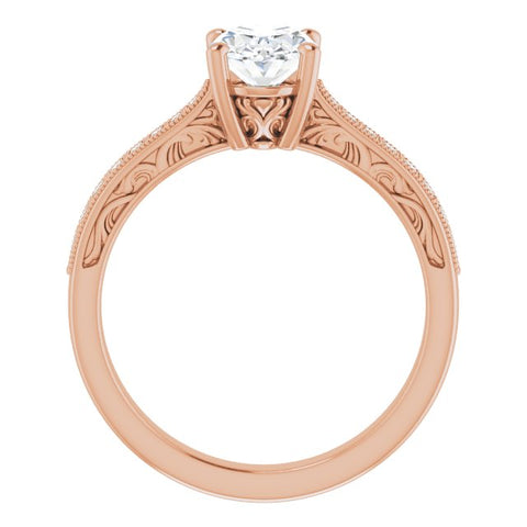 10K Rose Gold Customizable Oval Cut Design with Round Band Accents and Three-sided Filigree Engraving