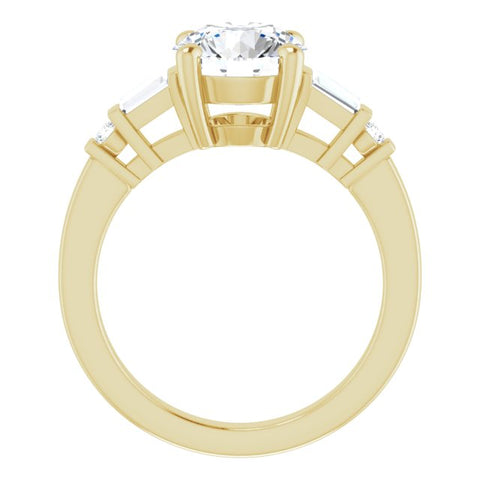 18K Rose Gold Customizable 5-stone Baguette+Round-Accented Round Cut Design)