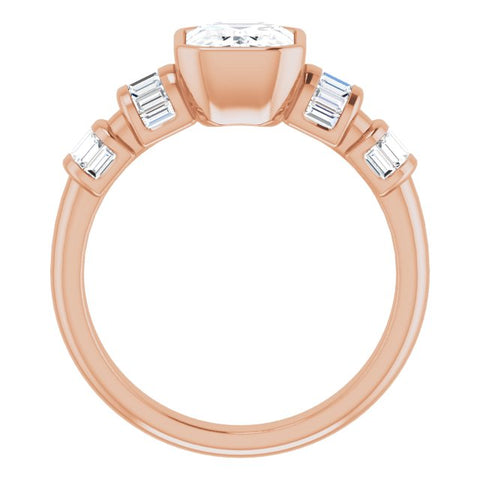 10K Rose Gold Customizable Bezel-set Emerald/Radiant Cut Design with Quad Horizontal Band Sleeves of Baguette Accents