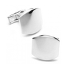 Men's Cufflinks- Classic Sterling Silver Engravable Curved Squares
