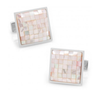 Men's Cufflinks- Sterling Silver Mosaic Style with Pink Mother of Pearl Inlay