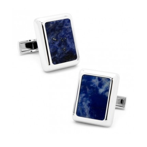 Men's Cufflinks- Silver Plated and Blue Lapis (JFK Presidential)