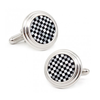 Men's Cufflinks- Silver Plated Onyx and Mother of Pearl Checkered Design