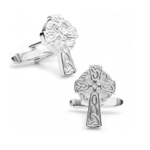 Men's Cufflinks- Sterling Silver Carved Celtic Crosses